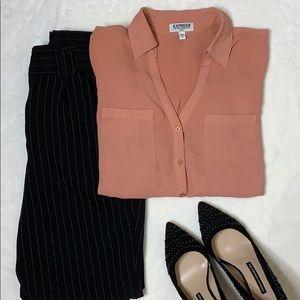 Express Slim Fit Portofino Shirt Dusty Rose S